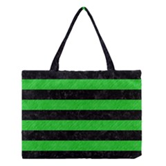 Stripes2 Black Marble & Green Colored Pencil Medium Tote Bag by trendistuff