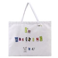 I Am Watching You Zipper Large Tote Bag by Valentinaart