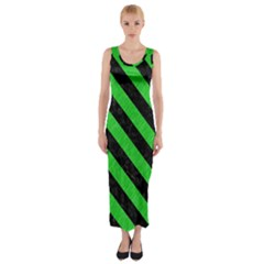 Stripes3 Black Marble & Green Colored Pencil (r) Fitted Maxi Dress
