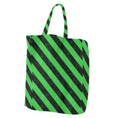 Stripes3 Black Marble & Green Colored Pencil (r) Giant Grocery Zipper Tote