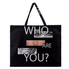 Who Are You Zipper Large Tote Bag by Valentinaart