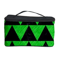 Triangle2 Black Marble & Green Colored Pencil Cosmetic Storage Case by trendistuff