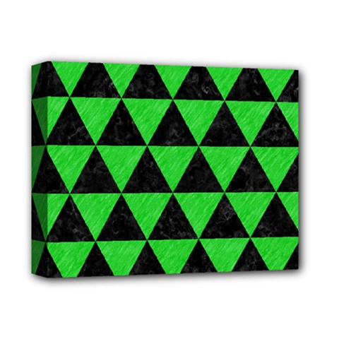Triangle3 Black Marble & Green Colored Pencil Deluxe Canvas 14  X 11  by trendistuff