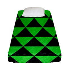 Triangle3 Black Marble & Green Colored Pencil Fitted Sheet (single Size) by trendistuff