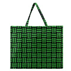 Woven1 Black Marble & Green Colored Pencil Zipper Large Tote Bag by trendistuff