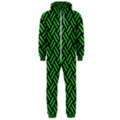 Woven2 Black Marble & Green Colored Pencil Hooded Jumpsuit (men)