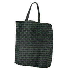 Brick1 Black Marble & Green Leather Giant Grocery Zipper Tote