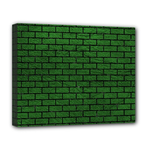 Brick1 Black Marble & Green Leather (r) Deluxe Canvas 20  X 16   by trendistuff