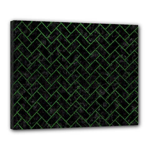 Brick2 Black Marble & Green Leather Canvas 20  X 16  by trendistuff