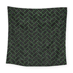 Brick2 Black Marble & Green Leather Square Tapestry (large) by trendistuff