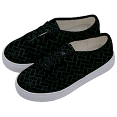 Brick2 Black Marble & Green Leather Kids  Classic Low Top Sneakers by trendistuff