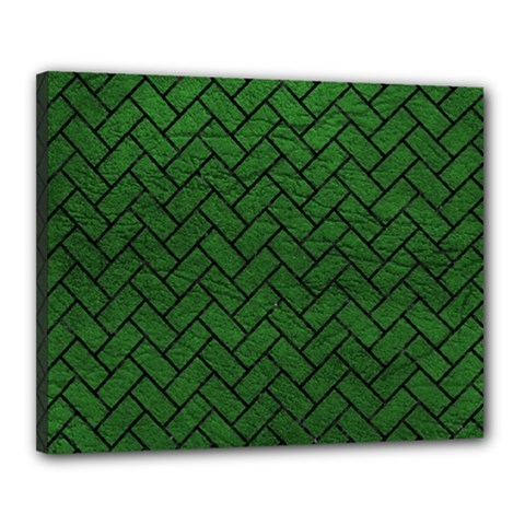Brick2 Black Marble & Green Leather (r) Canvas 20  X 16  by trendistuff