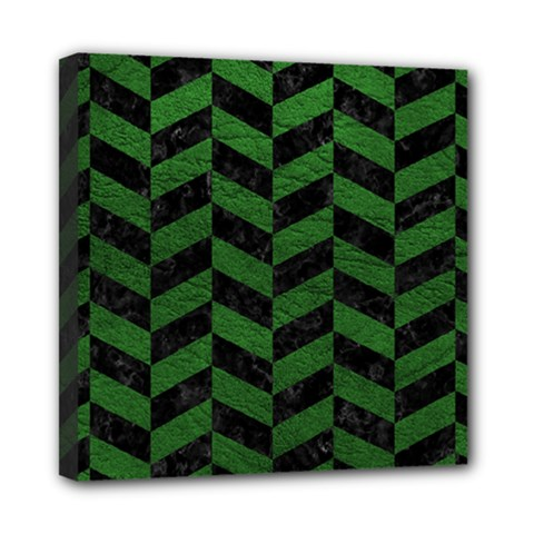 Chevron1 Black Marble & Green Leather Mini Canvas 8  X 8  by trendistuff