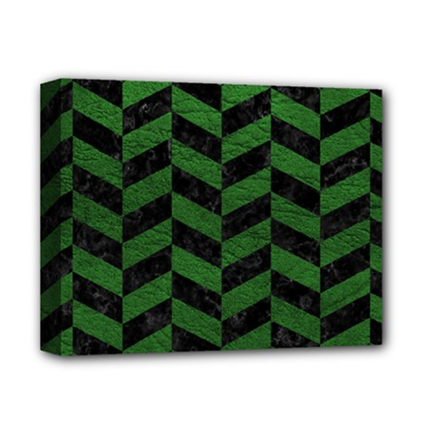 Chevron1 Black Marble & Green Leather Deluxe Canvas 14  X 11  by trendistuff