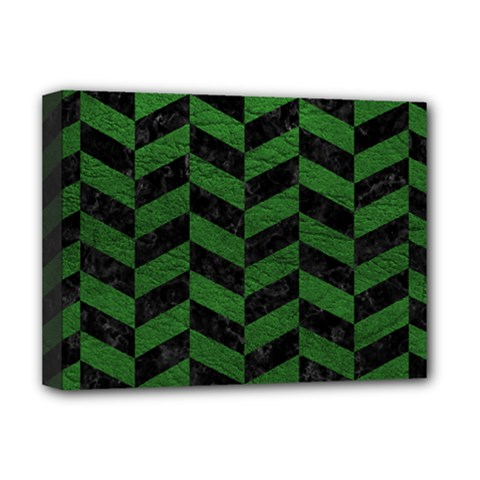 Chevron1 Black Marble & Green Leather Deluxe Canvas 16  X 12   by trendistuff