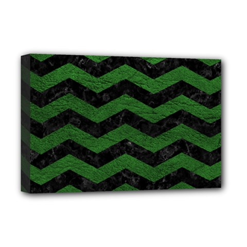 Chevron3 Black Marble & Green Leather Deluxe Canvas 18  X 12