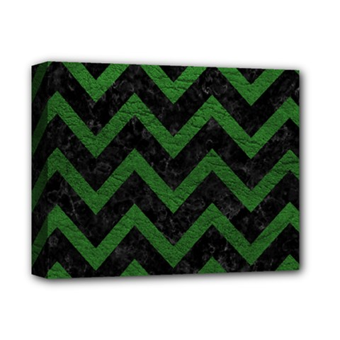 Chevron9 Black Marble & Green Leather Deluxe Canvas 14  X 11  by trendistuff