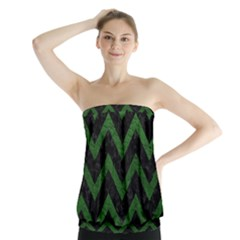 Chevron9 Black Marble & Green Leather Strapless Top