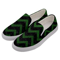 Chevron9 Black Marble & Green Leather Men s Canvas Slip Ons by trendistuff