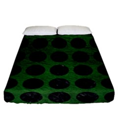 Circles1 Black Marble & Green Leather (r) Fitted Sheet (queen Size) by trendistuff