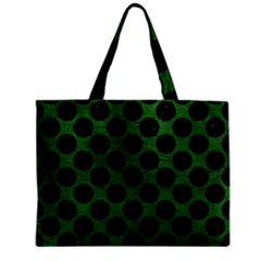 Circles2 Black Marble & Green Leather (r) Zipper Mini Tote Bag by trendistuff