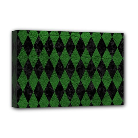 Diamond1 Black Marble & Green Leather Deluxe Canvas 18  X 12   by trendistuff