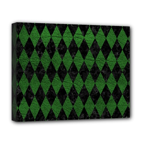 Diamond1 Black Marble & Green Leather Deluxe Canvas 20  X 16   by trendistuff