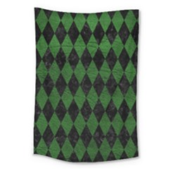 Diamond1 Black Marble & Green Leather Large Tapestry by trendistuff