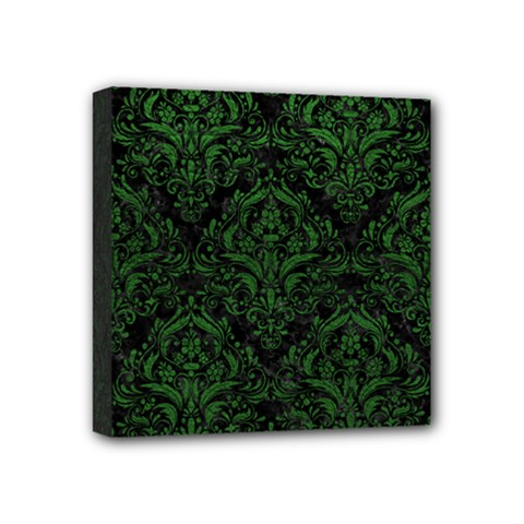 Damask1 Black Marble & Green Leather Mini Canvas 4  X 4  by trendistuff
