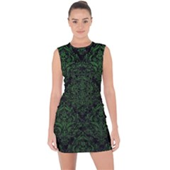 Damask1 Black Marble & Green Leather Lace Up Front Bodycon Dress