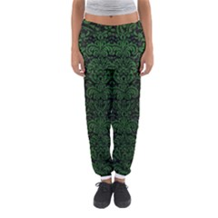 Damask2 Black Marble & Green Leather Women s Jogger Sweatpants