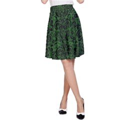 Damask2 Black Marble & Green Leather (r) A Line Skirt