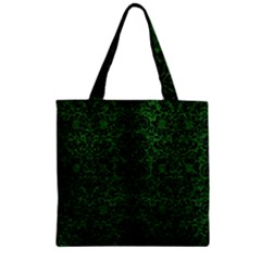 Damask2 Black Marble & Green Leather (r) Zipper Grocery Tote Bag