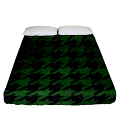 Houndstooth1 Black Marble & Green Leather Fitted Sheet (queen Size) by trendistuff