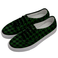 Houndstooth1 Black Marble & Green Leather Men s Classic Low Top Sneakers by trendistuff