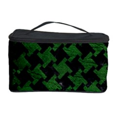 Houndstooth2 Black Marble & Green Leather Cosmetic Storage Case by trendistuff