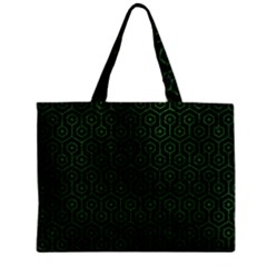 Hexagon1 Black Marble & Green Leather Zipper Mini Tote Bag by trendistuff