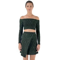 Hexagon1 Black Marble & Green Leather Off Shoulder Top With Skirt Set