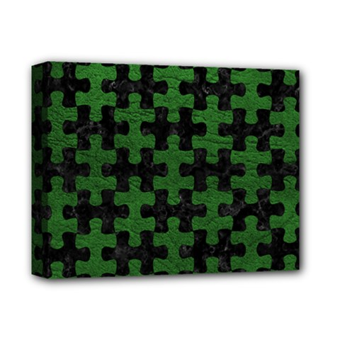 Puzzle1 Black Marble & Green Leather Deluxe Canvas 14  X 11  by trendistuff