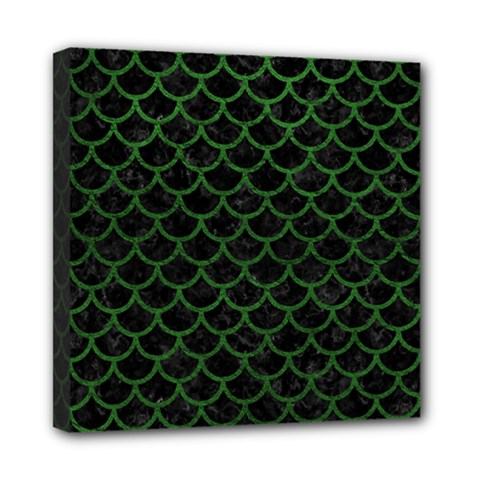 Scales1 Black Marble & Green Leather Mini Canvas 8  X 8  by trendistuff