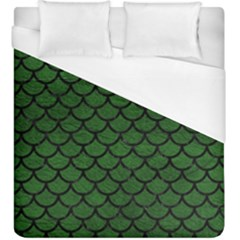 Scales1 Black Marble & Green Leather (r) Duvet Cover (king Size)