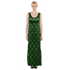 Scales1 Black Marble & Green Leather (r) Maxi Thigh Split Dress by trendistuff