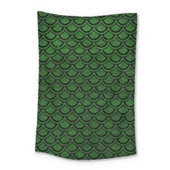 Scales2 Black Marble & Green Leather (r) Small Tapestry by trendistuff