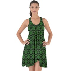 Scales2 Black Marble & Green Leather (r) Show Some Back Chiffon Dress by trendistuff