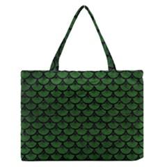 Scales3 Black Marble & Green Leather (r) Zipper Medium Tote Bag by trendistuff