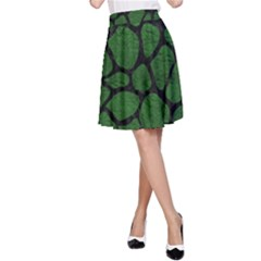 Skin1 Black Marble & Green Leather A Line Skirt