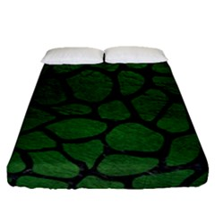 Skin1 Black Marble & Green Leather Fitted Sheet (queen Size) by trendistuff