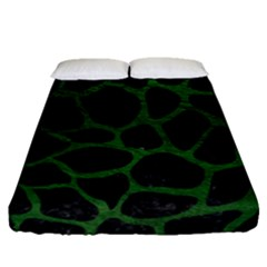 Skin1 Black Marble & Green Leather (r) Fitted Sheet (queen Size) by trendistuff