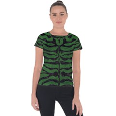Skin2 Black Marble & Green Leather (r) Short Sleeve Sports Top