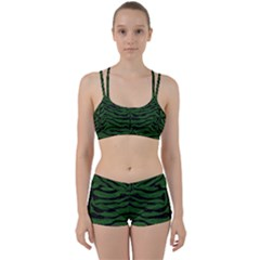 Skin2 Black Marble & Green Leather (r) Women s Sports Set